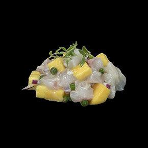 Tartare daurade mangue poivre vert