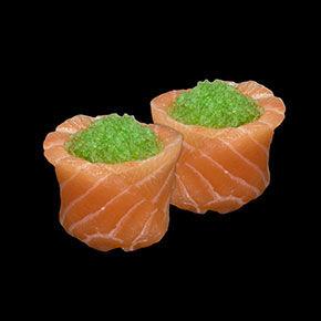 Tulipe saumon oeuf de poisson volant vert